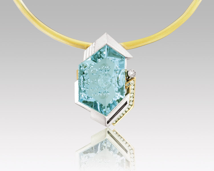 Denny Wong 18K Yellow and White Gold Pendant with Aquamarine Center
