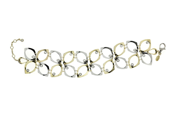 18k White And Yellow Gold .63 Carat (Total Weight) Diamond Double Row Bracelet