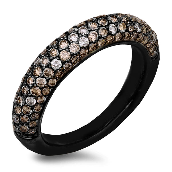 18K Black Rhodium Gold Band Diamond Ring