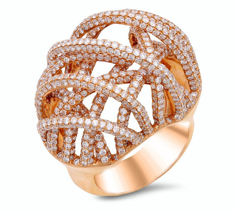 18K Rose Gold Ring With Diamonds