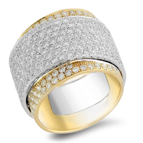 18K white and yellow gold ring with 3.39 CT diamonds