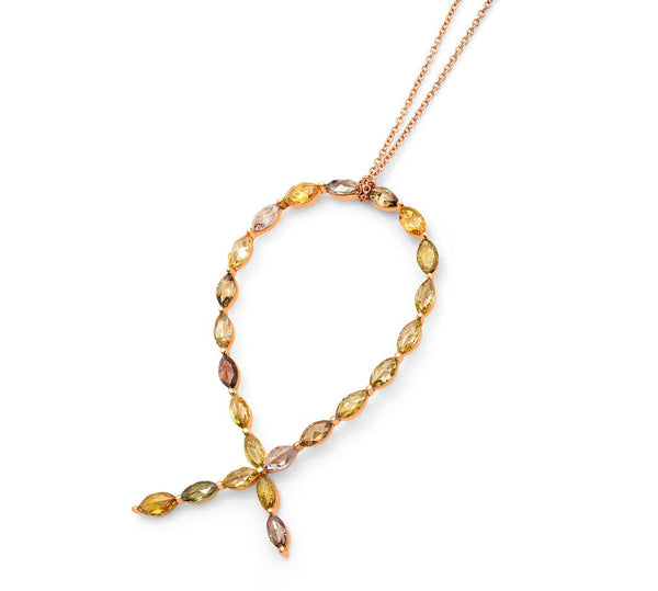 18K Rose Gold Pendant Necklace with Rose Cut Diamonds