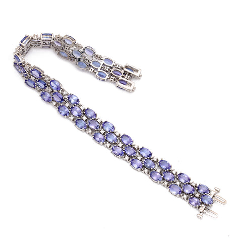 14K White Gold Diamond Bracelet with Tanzanites