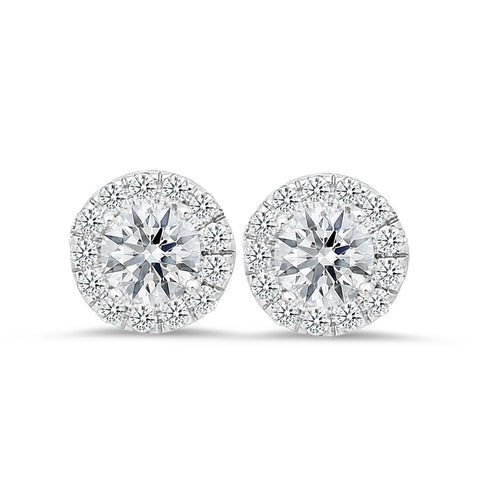 18K white gold stud earrings with 0.42 CT and 1.00 CT diamonds