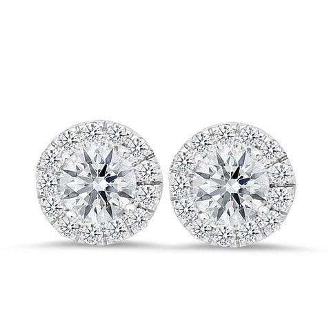 18K white gold stud earrings with 0.42 CT diamonds and 1.50 CT diamonds