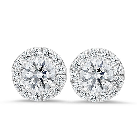 18K white gold stud earrings with 0.42 CT and 2.00 CT diamonds