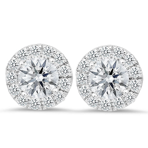18K white gold stud earrings with 0.42 CT and 3.00 CT diamonds