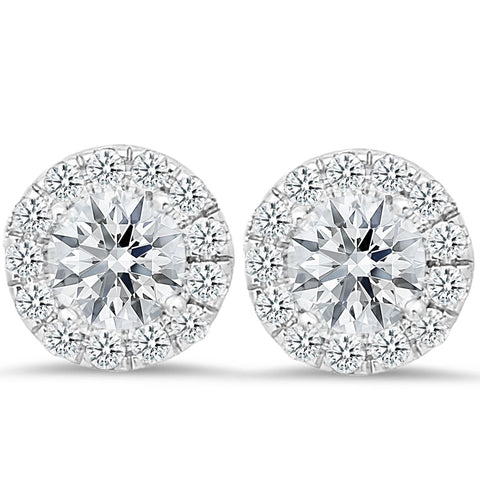 18K white gold stud earrings with 0.42 CT and 4.00 CT diamonds