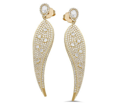 18K yellow gold earrings with 5.67 CT, 0.84 and 0.89 CT diamonds