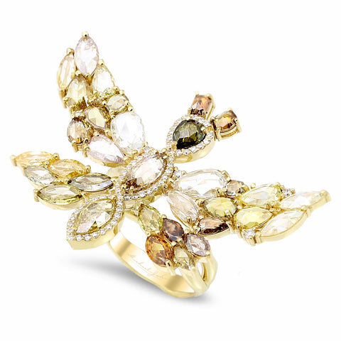18K yellow gold butterfly ring with 0.45 carat and 6.57 carat diamonds