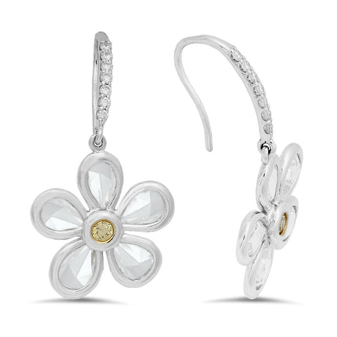 18K White gold earrings with 0.12ct diamonds and 2pcs total 0.13ct Yellow diamonds and 10pcs total 2.64ct Rose cut diamonds