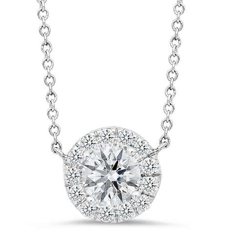18K white gold pendant with 0.15ct diamonds and .45ct diamond center