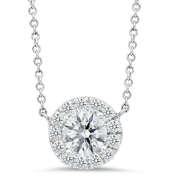 18K White Gold Pendant Necklace with Diamond Center