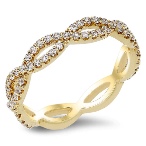 18K rose gold band with 0.54 CT diamonds