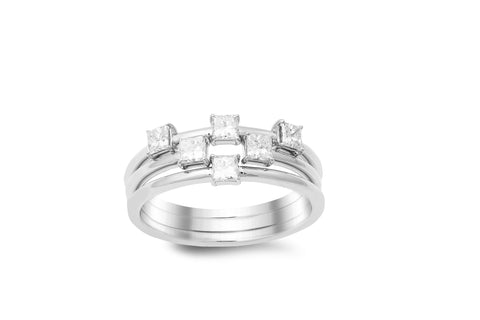 18K white gold 3pcs ring with 0.60 CT diamonds