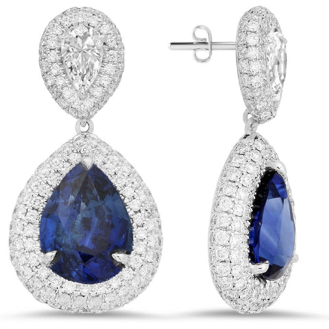 18K white gold earrings with 340 pcs 2.04 CT diamonds and 2 pcs sapphire 2.93ct and 3.06ct sapphire
