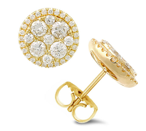 18K yellow gold stud earrings with 72 pcs 1.08ct diamonds