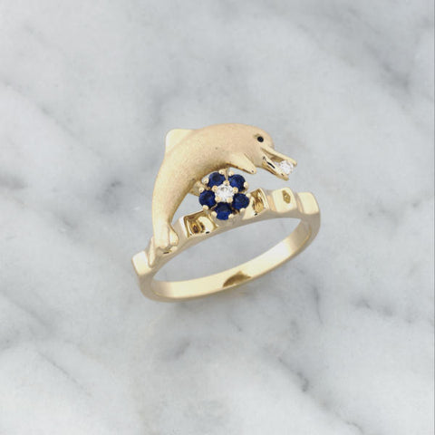 Teufel 14K Yellow Gold 0.03CT Diamond 0.14CT Sapphire Spinner Ring