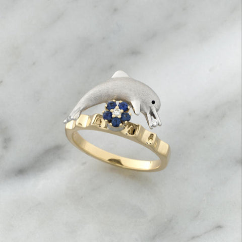 Teufel 14K Yellow & White Gold 0.03CT Diamond 0.14CT Sapphire Spinner Ring
