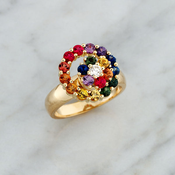 Yellow Gold Rainbow Cluster Spinner Ring