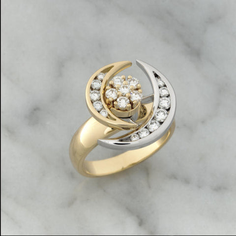 Teufel Yellow & White Gold Double Diamond Moon Spinner Ring