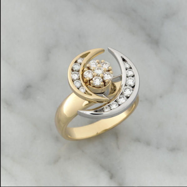 Yellow & White Gold Double Diamond Moon Spinner Ring