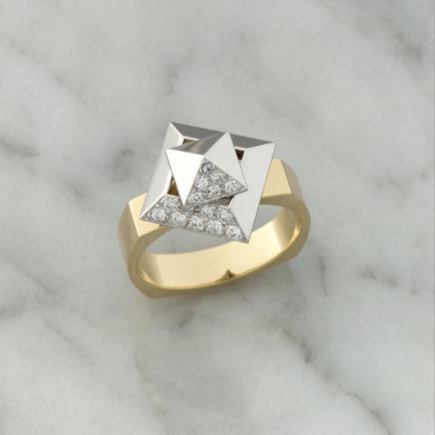 Teufel Yellow & White Gold Diamond Pyramid Spinner Ring