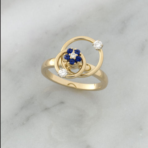 Teufel Yellow Gold Double Loop Blue Sapphire & Diamond Spinner Ring