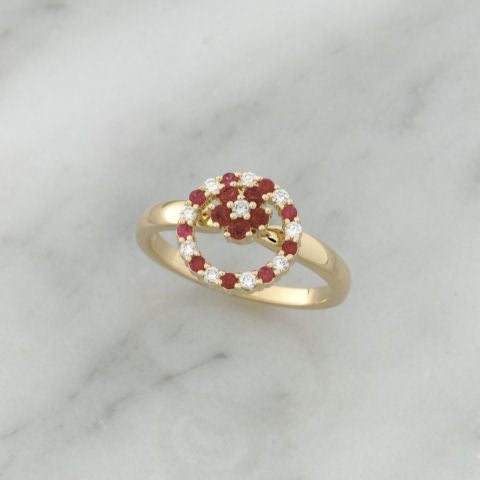 Teufel 14K Yellow Gold 0.14CT Diamond 0.30CT Ruby Spinner Ring