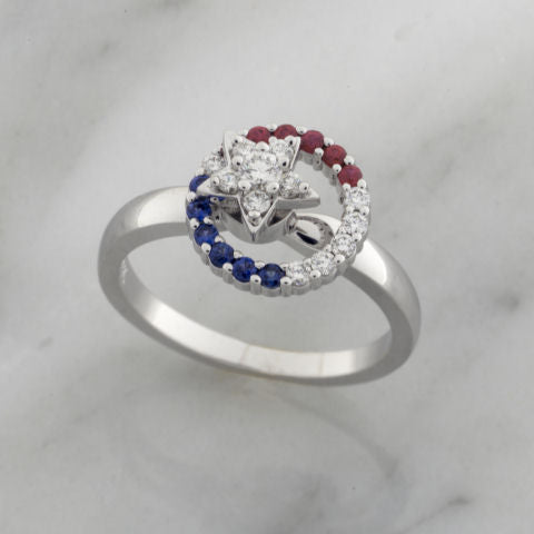 Teufel 14K White Gold 0.22CT Diamond 0.10CT Sapphire 0.10CT Ruby Spinner Ring