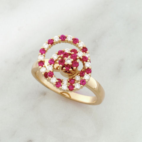 Teufel 14K Yellow Gold 0.29CT Diamond 0.50CT Ruby Spinner Ring