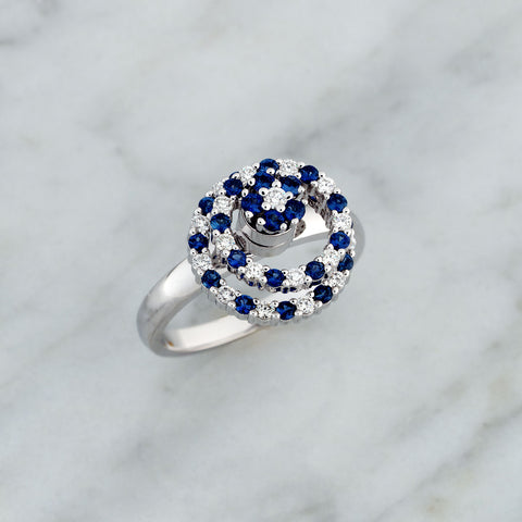 Teufel White Gold Double Circle Blue Sapphire & Diamond Cluster Spinner Ring