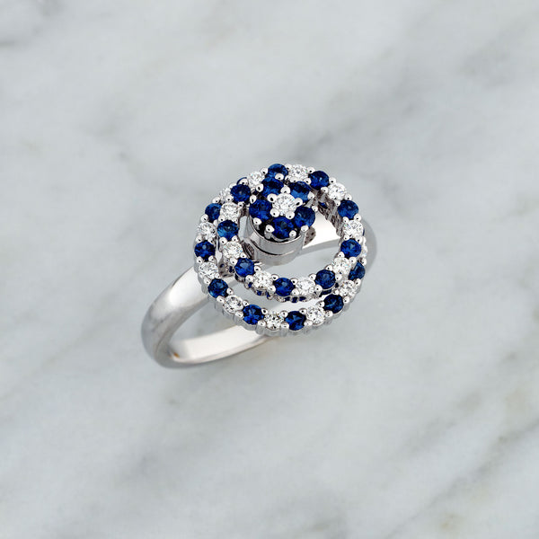 White Gold Double Circle Blue Sapphire & Diamond Cluster Spinner Ring