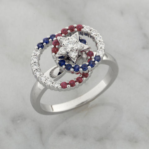 Teufel 14K White Gold 0.33CT Diamond 0.22CT Sapphire 0.22CT Ruby Spinner Ring