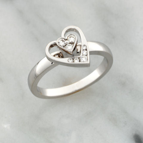 Teufel White Gold Diamond Heart Spinner Ring