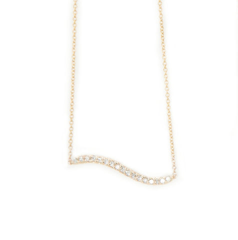 Bermuda Wavy Diamond Bar Necklace Rose Gold