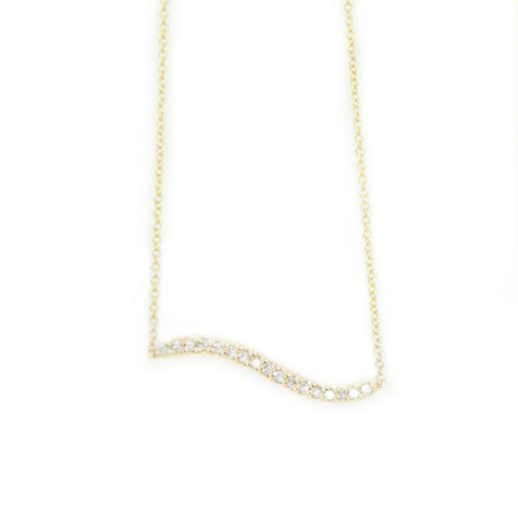 Bermuda Wavy Diamond Bar Necklace 14K Yellow Gold