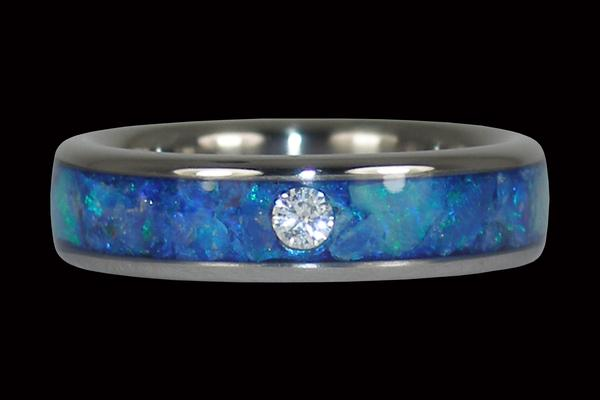 Black Opal Titanium Ring Band