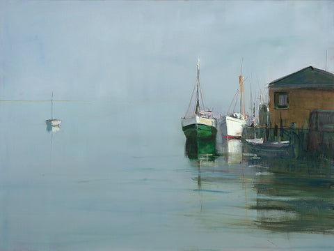 Dolphin Galleries Anne Packard Boats At Wharf