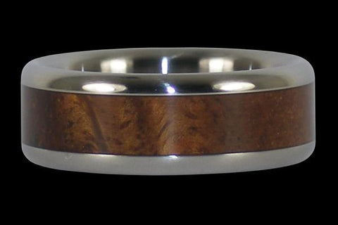 Titanium Ring with Hawaiian Curly Koa Wood