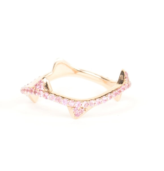 Wave Ring Pink Sapphires