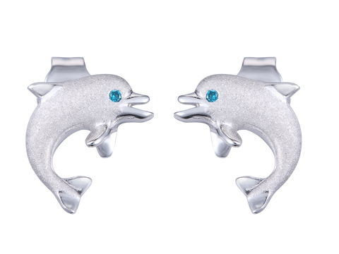 "14K White Gold ""Jumping Single"" Dolphin Earrings With Blue Diamonds"