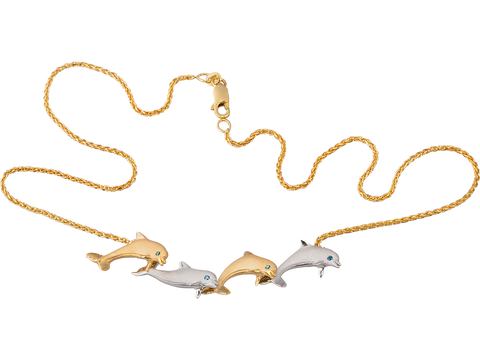 "14K Two Tone ""Open Sea"" Dolphin Necklace With 4 Blue Diamonds"