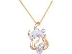 14K Two-Tone Dolphin Pendant With Blue Diamond