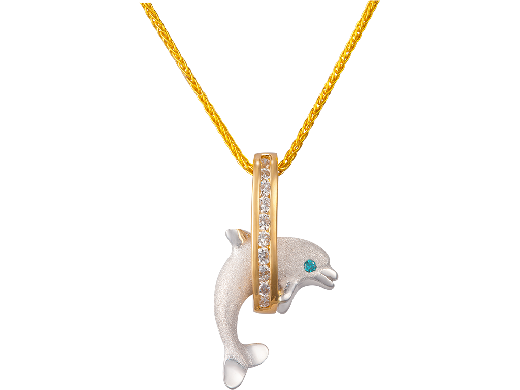 "Denny Wong 15mm 14K Two Tone ""Jumping Loop"" Dolphin Pendant With Diamonds"