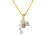 "15mm 14K Two Tone ""Jumping Loop"" Dolphin Pendant With Diamonds"