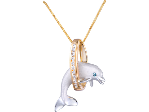"20mm 14K Two Tone ""Jumping Loop"" Dolphin Pendant With Diamonds"