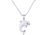"15mm 14K White Gold ""Jumping Single"" Dolphin Pendant With Blue Diamond"