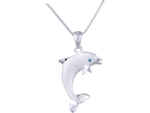 "20mm 14K White Gold ""Jumping Single"" Dolphin Pendant With Blue Diamond"