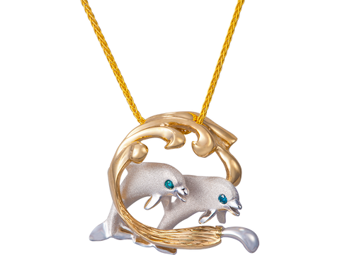 15mm 14K Two Tone Surfing Dolphin Couple Pendant With Blue Diamonds